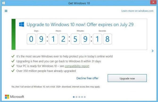 С29июля отменяется бесплатное обновление доWindows 10