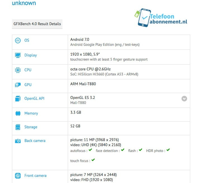Huawei Mate 9 засветился вбенчмарке