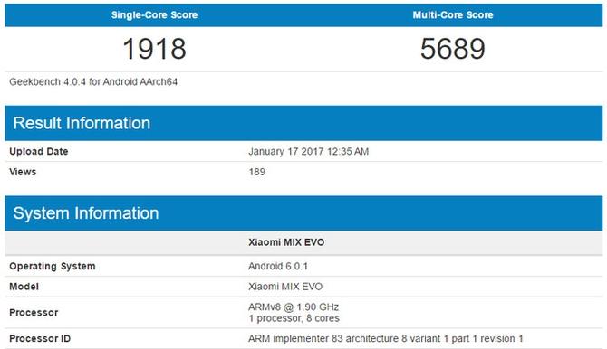 Смартфон Xiaomi MIX EVO сSnapdragon 835 SoC засветился вGeekbench