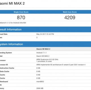 Xiaomi Mi Max 2 замечен в Geekbench